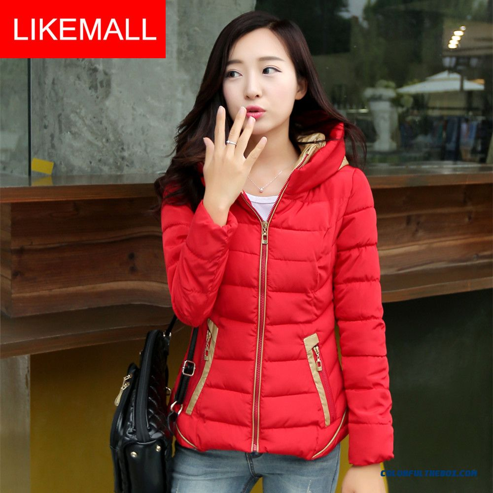 New Winter Brand Fashion Women Coat Stand Collar Short Slim And Thin Red White Green
