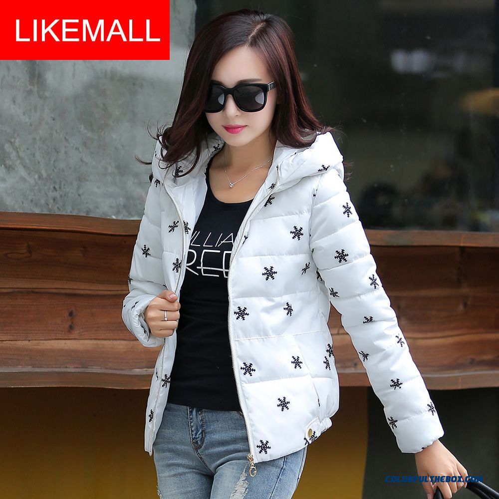 New Winter Brand Fashion Women Hooded Coat Snowflake Casual Shrot White Keep Warm