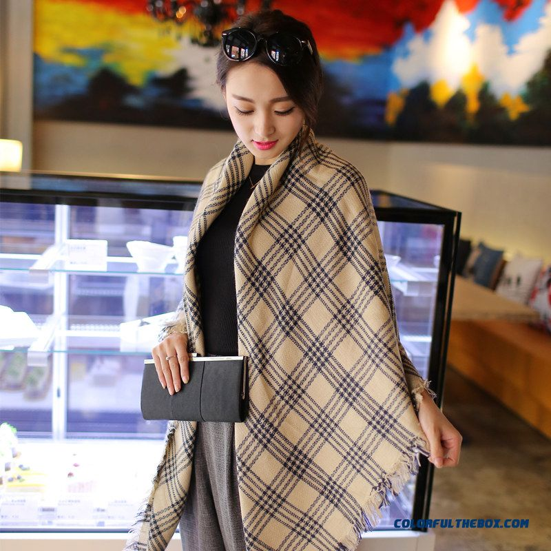 New Winter Cashmere Shawl Scarves Dual-purpose Thickening Increase Plaid Women Ladies Knitting Wool Cloak Scarves