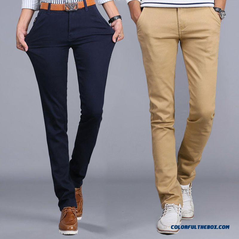 New Winter Casual High Elastic Thick Cotton Business Casual Long Pants Men Tide - more images 1