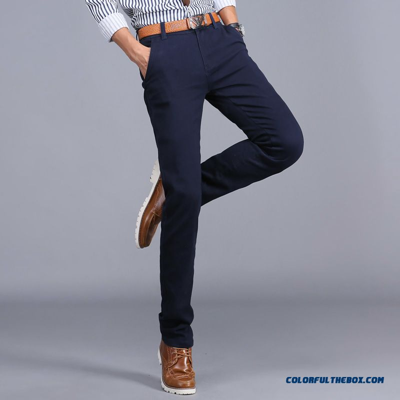 New Winter Casual High Elastic Thick Cotton Business Casual Long Pants Men Tide - more images 2