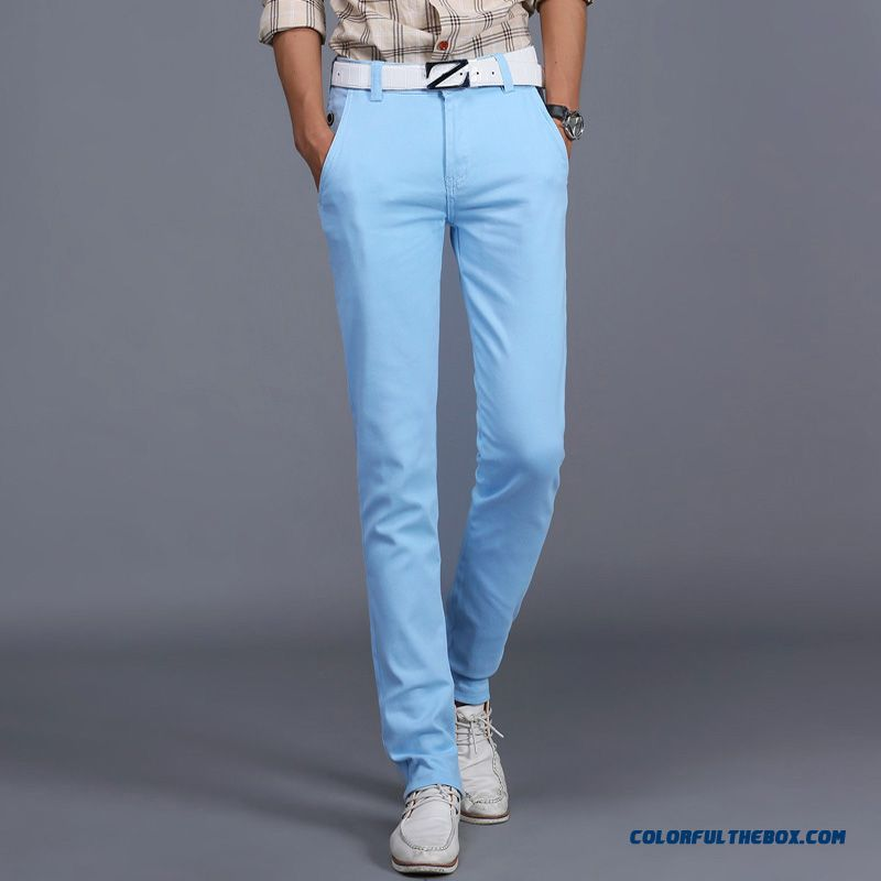 New Winter Casual High Elastic Thick Cotton Business Casual Long Pants Men Tide - more images 3