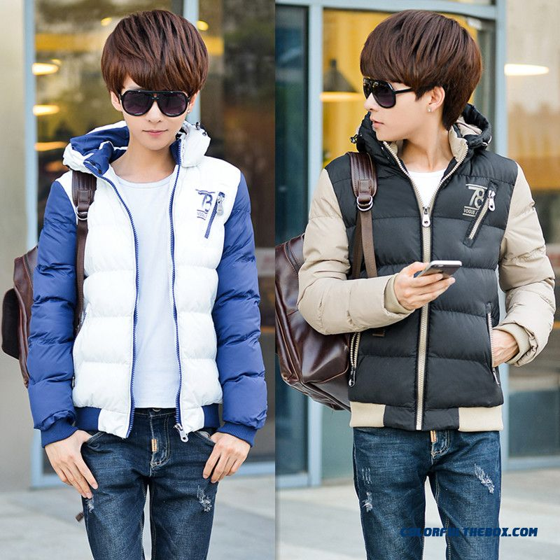 New Winter Cheap Men Hooded Coats Slim Short Thicken Teens Cotton-padded Jacket