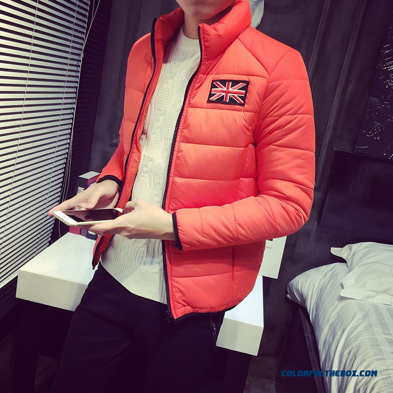 New Winter Cheap Men Stand Collar Red Khaki Thicken Jacket Cotton-padded