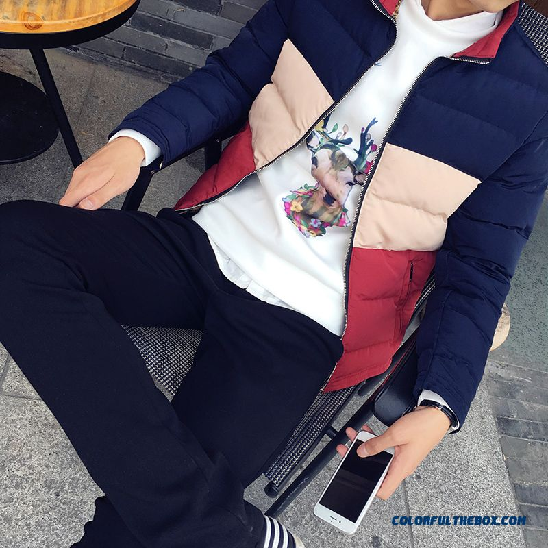 New Winter Cheap Men Stand Collar Slim Red Blue Cotton-padded Jacket