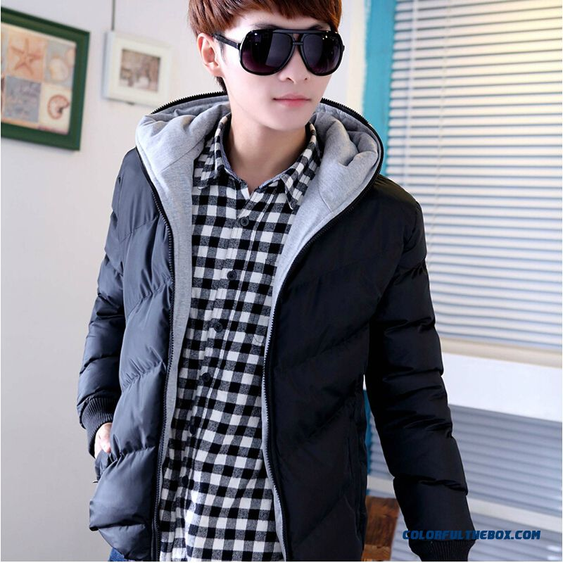 New Winter Cheap Men Thicken Black Slim Hooded Coats Young