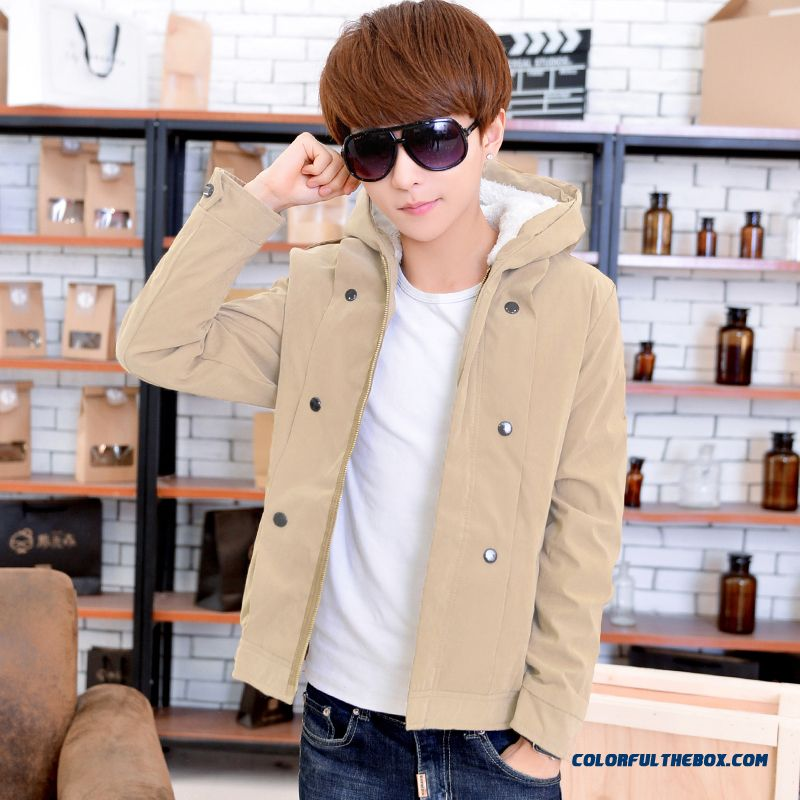 New Winter Cheap Men Thicken Hooded Coats Slim Black Khaki Autumn Young