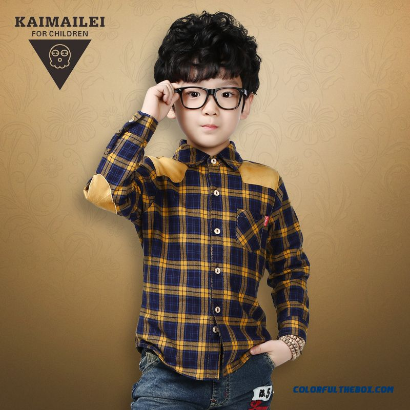 New Winter Clothing Plus Velvet Thick Warm Shirt Child Big Boy Plaid Shirt Fashionable