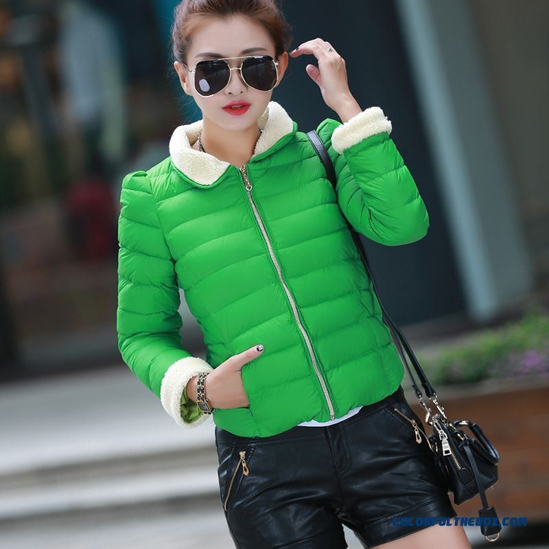 New Winter Coat Female Shor Slim Down Lambs Wool Coat Jacket Thick Tide