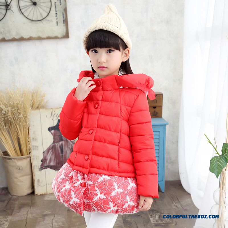 New Winter Coat Kids Girls Long Section Of Flowers Jacket Coat Clothing Chic