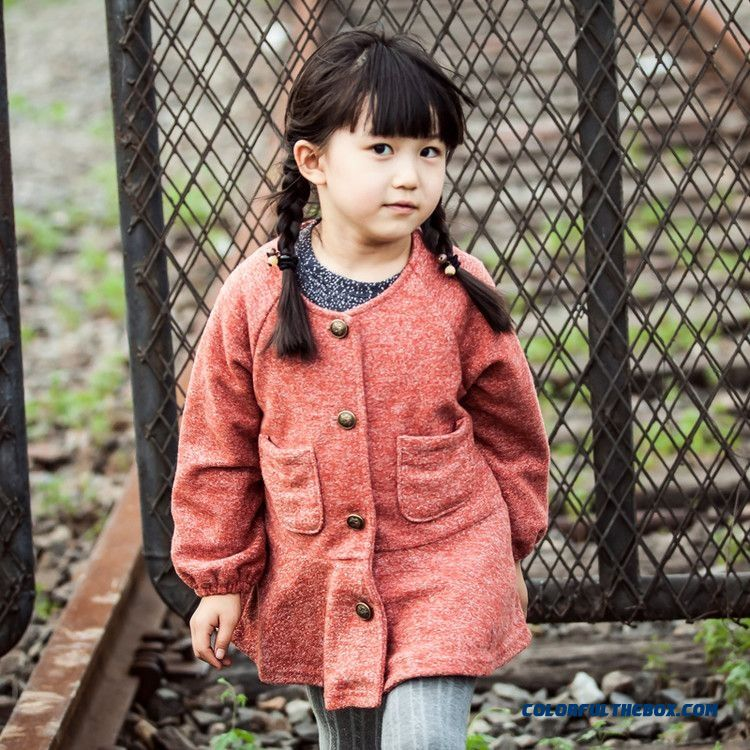 New Winter Coat Solid Plus Cashmere Coat Girls Art Style Kids Clothing