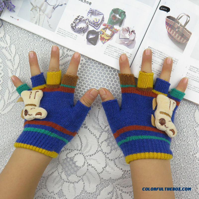 New Winter Fashion Cute Boys And Girls Half-finger Mittens Cashmere Wool Write Finger Mittens Free Shipping Kids Accessories - more images 1
