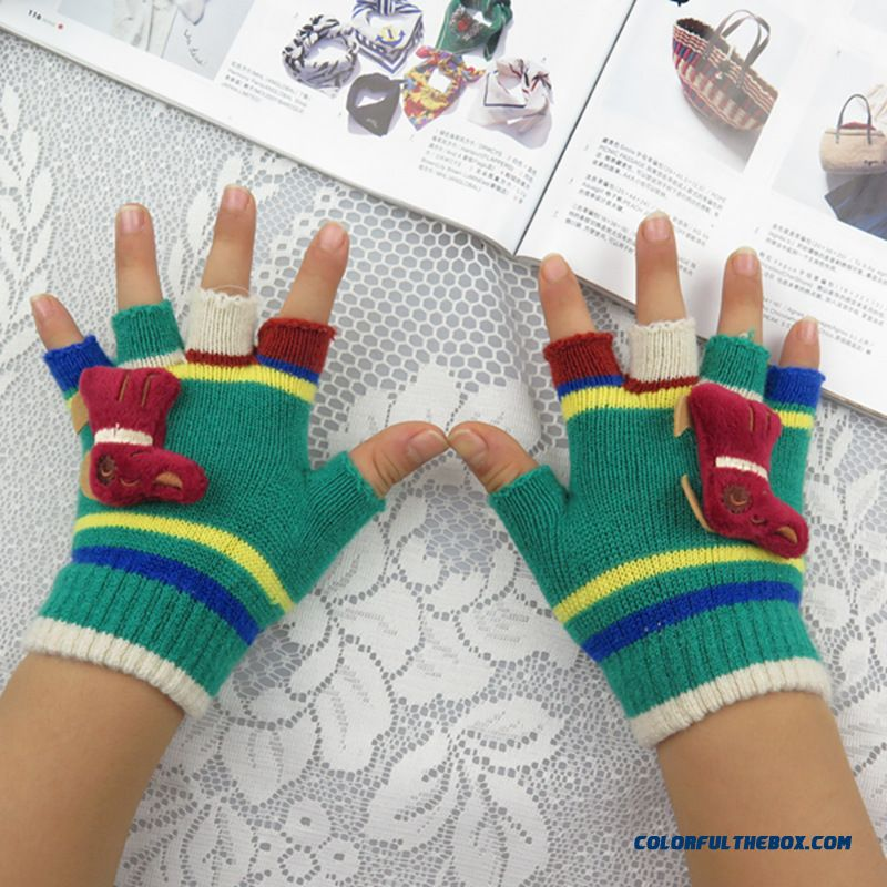 New Winter Fashion Cute Boys And Girls Half-finger Mittens Cashmere Wool Write Finger Mittens Free Shipping Kids Accessories - more images 2