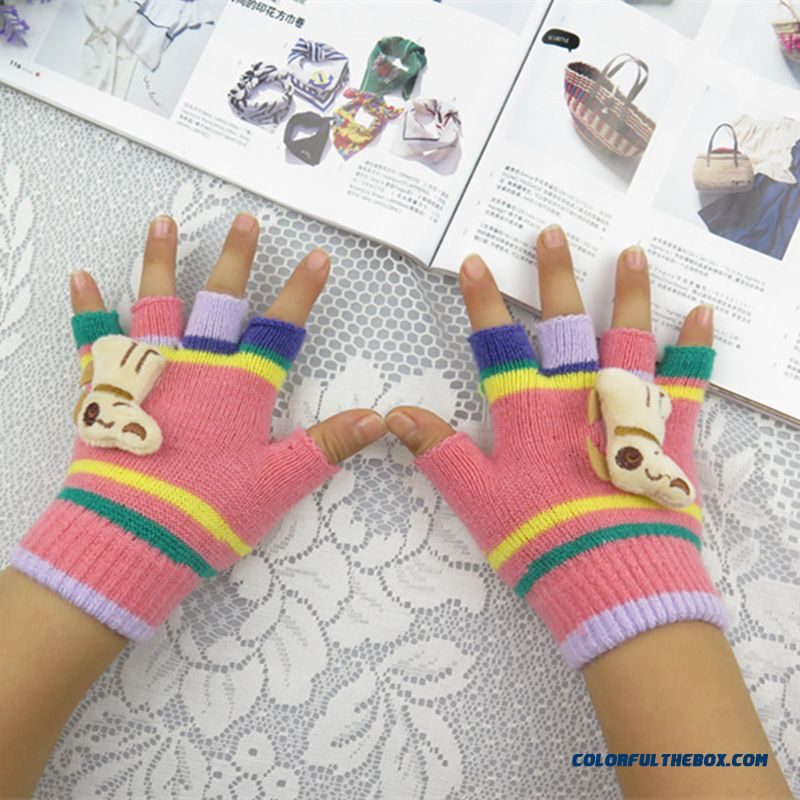 New Winter Fashion Cute Boys And Girls Half-finger Mittens Cashmere Wool Write Finger Mittens Free Shipping Kids Accessories - more images 4