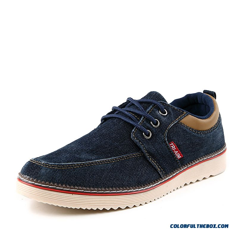 New Winter Fashion Solid Color Denim Canvas Lightweight Breathable Men Casual Shoes