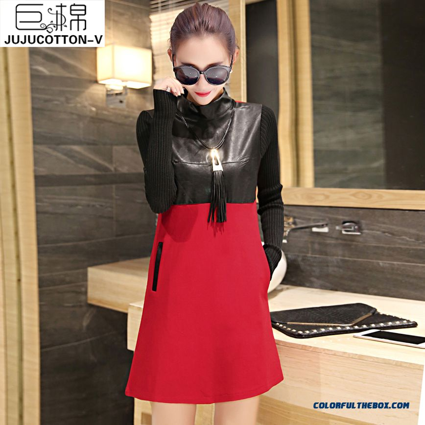 New Winter Fashion Stitching Leather Elegant Casual Long-sleeved Women Dress Tide