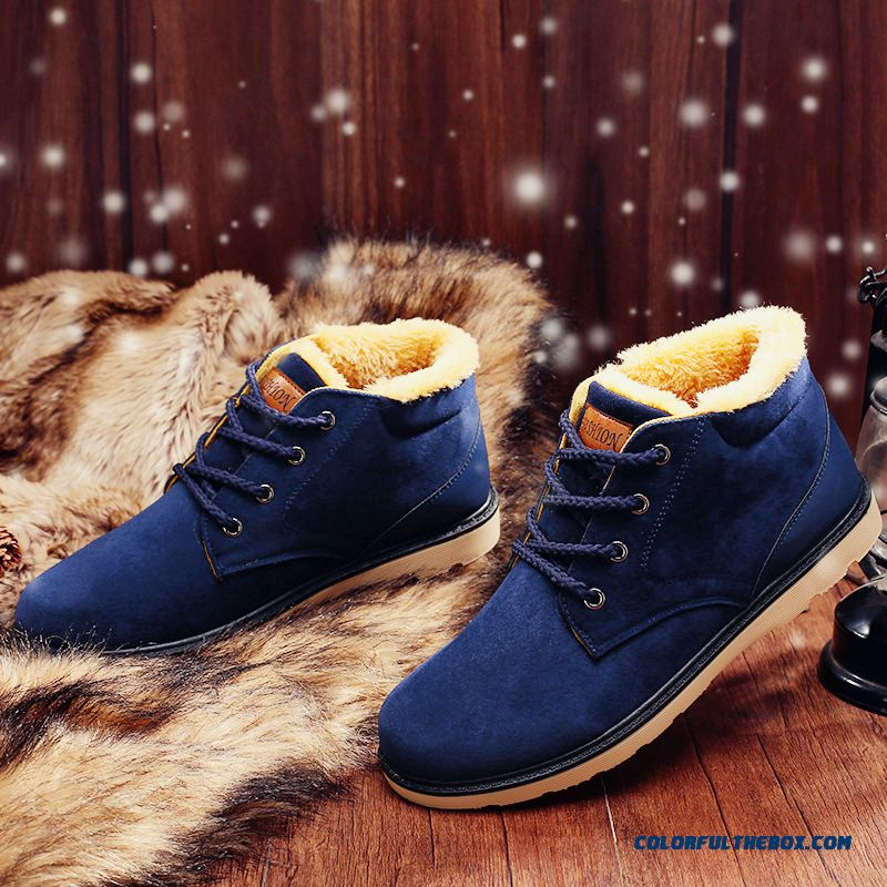 New Winter Flats Shoes Plus Velvet Inside Cotton Padded Shoes Plus Warm Velvet Winter Men's Flat Shoes For Sale