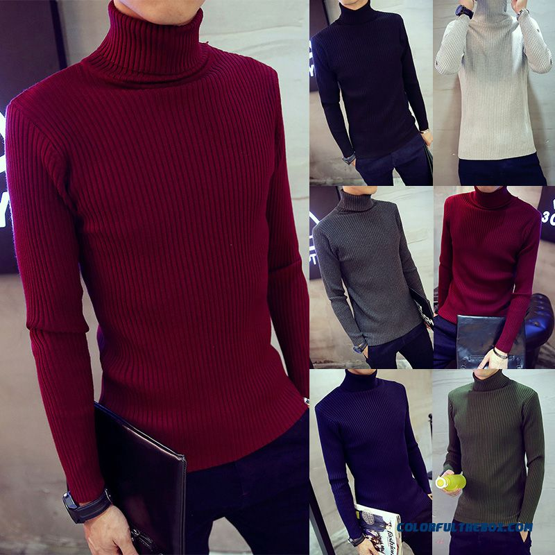 New Winter High Neck Sweats Knitwear Bottoming Slim Elastic Men Clothing