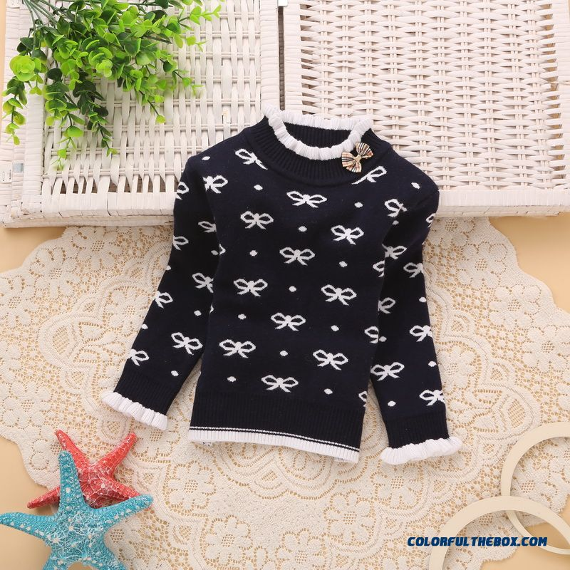 New Winter Kids Clothing Korean Girls Double Jacquard Warm Bow Sweater Knit Primer Shirt