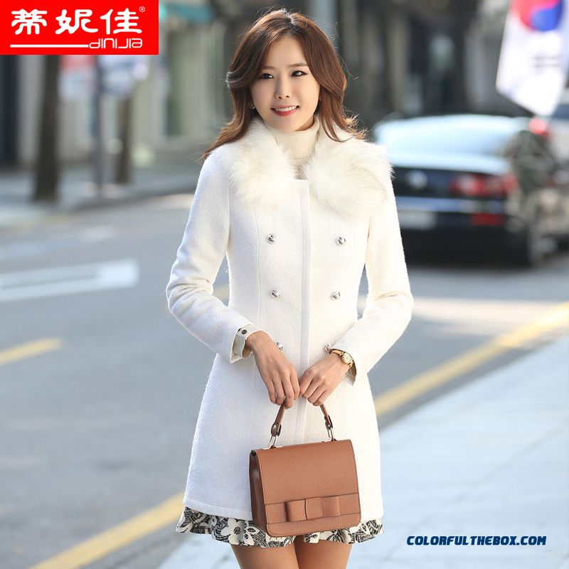 New Winter Long Section Of Women Wool Coat Fur Collar Double-breasted Windbreaker