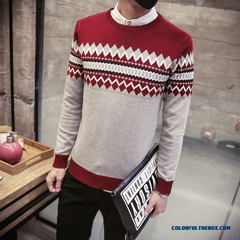 New Winter Men Pullover Round Neck Knitwear Thick Sweater Bottoming Shirt - more images 2