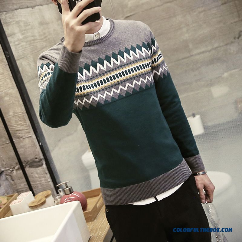 New Winter Men Pullover Round Neck Knitwear Thick Sweater Bottoming Shirt - more images 3