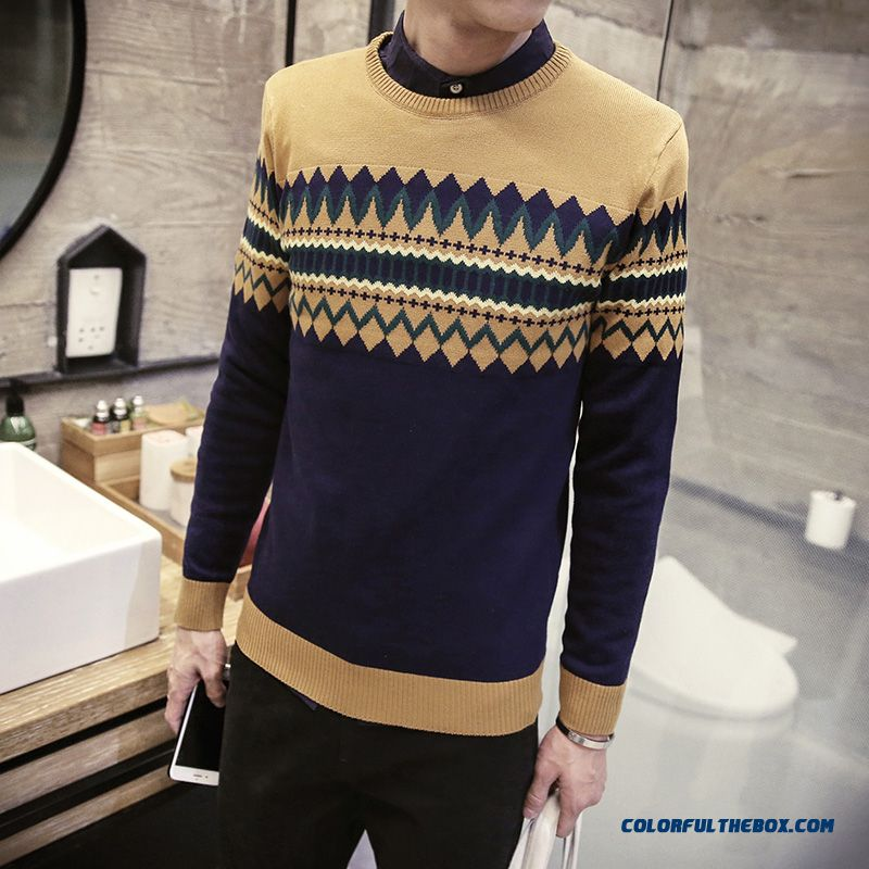 New Winter Men Pullover Round Neck Knitwear Thick Sweater Bottoming Shirt - more images 4