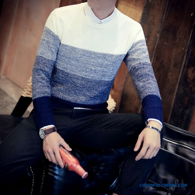 New Winter Men Round Neck Knitwear Pullover Slim Hit The Color Sweaters Tide