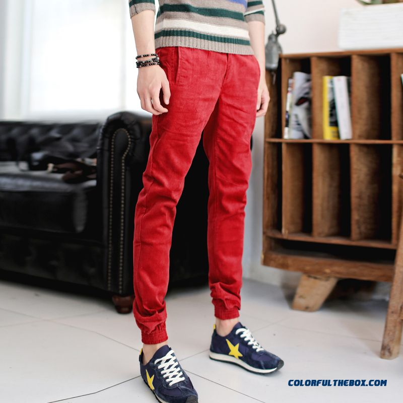 New Winter Men's Casual Korean Version Slim Retro Long Pants Corduroy Clothing
