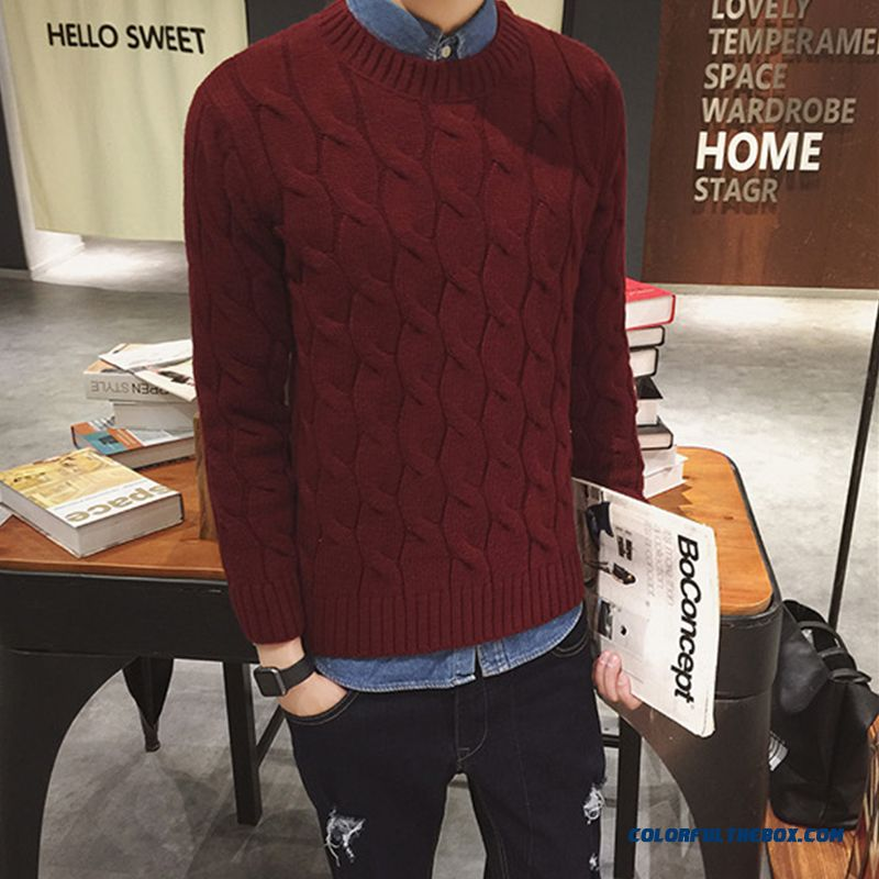 New Winter Men's Sweater Thick Solid Round Neck Pullover Red
