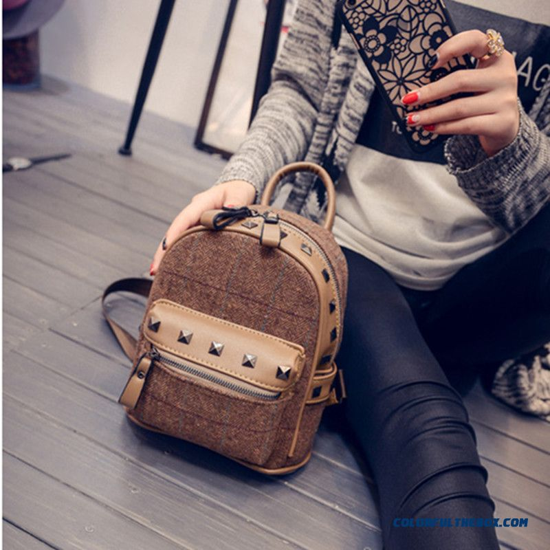 330d436a5528 ... New Winter Plaid Women Korean College Style Schoolbags Simple Woolen  Mini Backpack - more images 2 ...