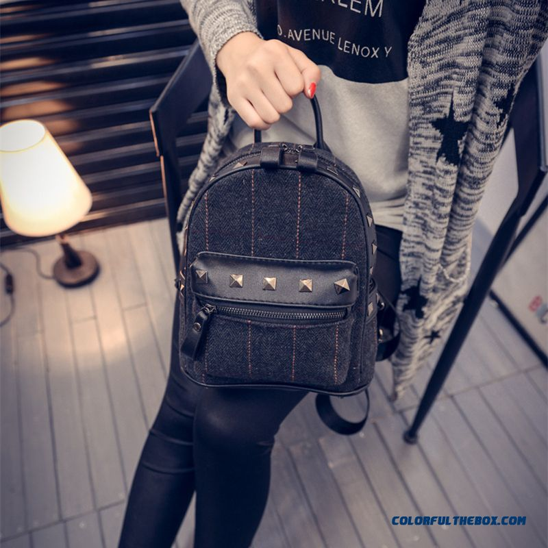6ef48882cdf6 ... New Winter Plaid Women Korean College Style Schoolbags Simple Woolen  Mini Backpack - more images 3 ...