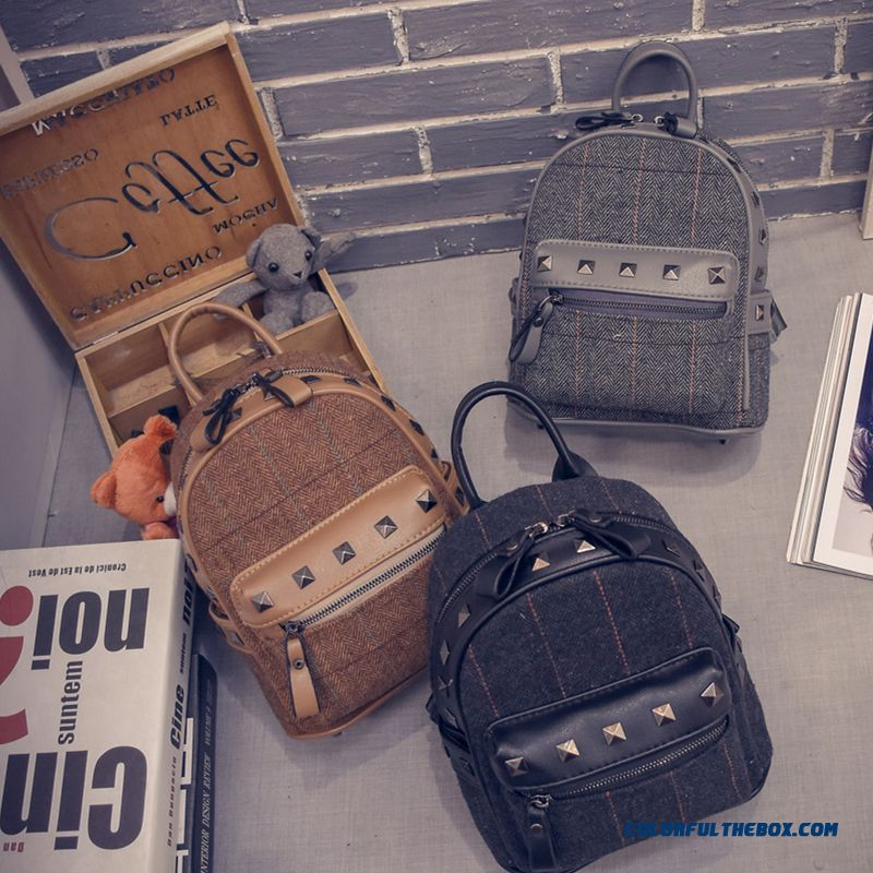 713314daa32a ... New Winter Plaid Women Korean College Style Schoolbags Simple Woolen  Mini Backpack - more images 4