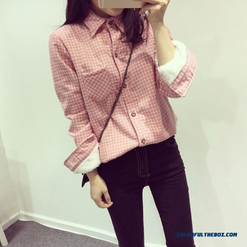 New Winter Plus Thick Velvet Long-sleeved Plaid Shirt Girl Clothing Free Shipping