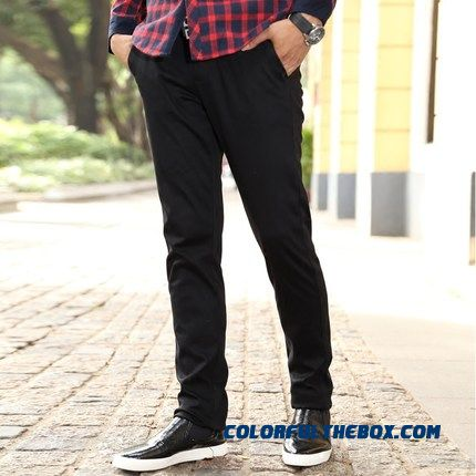 New Winter Plus Velvet Thick Men's Casual Tide Elastic Slim Business Pants