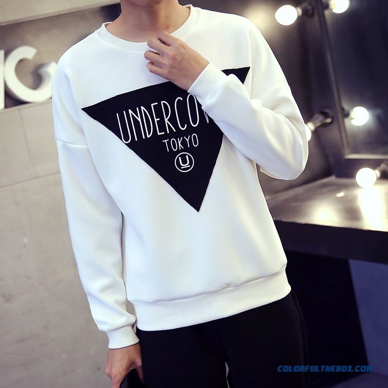New Winter Pullover Round Neck Slim Casual Shirt Printing Triangle Sweatshirts