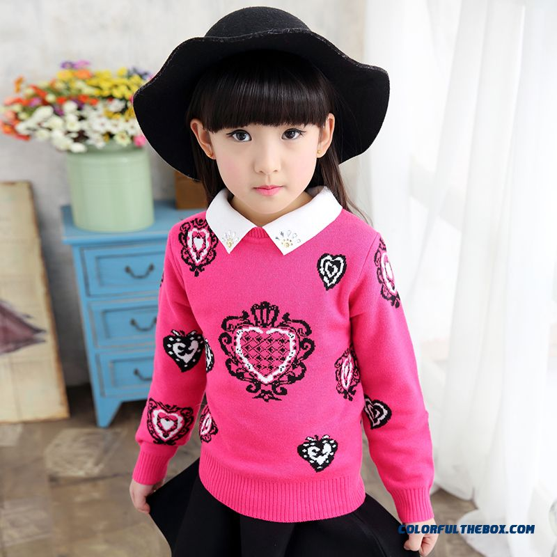 New Winter Pullover Round Neck Thick Sweater Girls Big Kids Warm Knit Shirt Lapel Jacket Kids Clothing