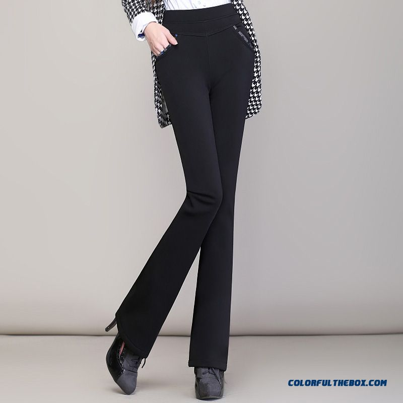 New Winter Slim Thin Plus Thick Velvet Pants Casual Women Large Size Elastic High Waist Long Pants