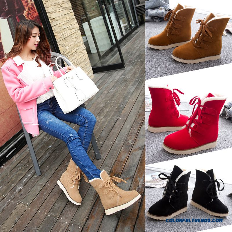 Cheap New Winter Snow Boots Women Short Flat Bottom With Lace Warm