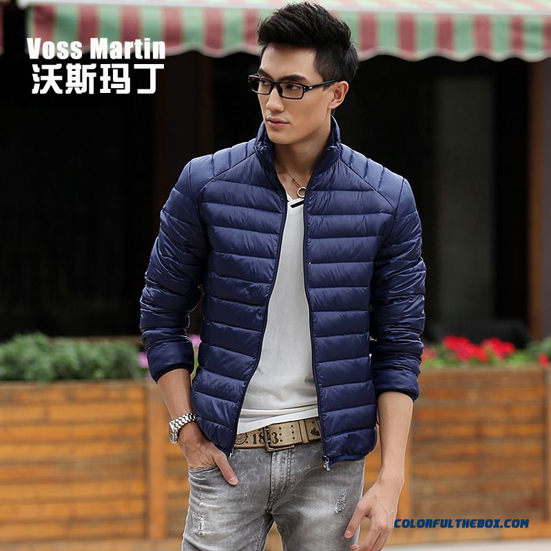 New Winter Style Men Coats Thin Short Stand Collar Large Size Mode