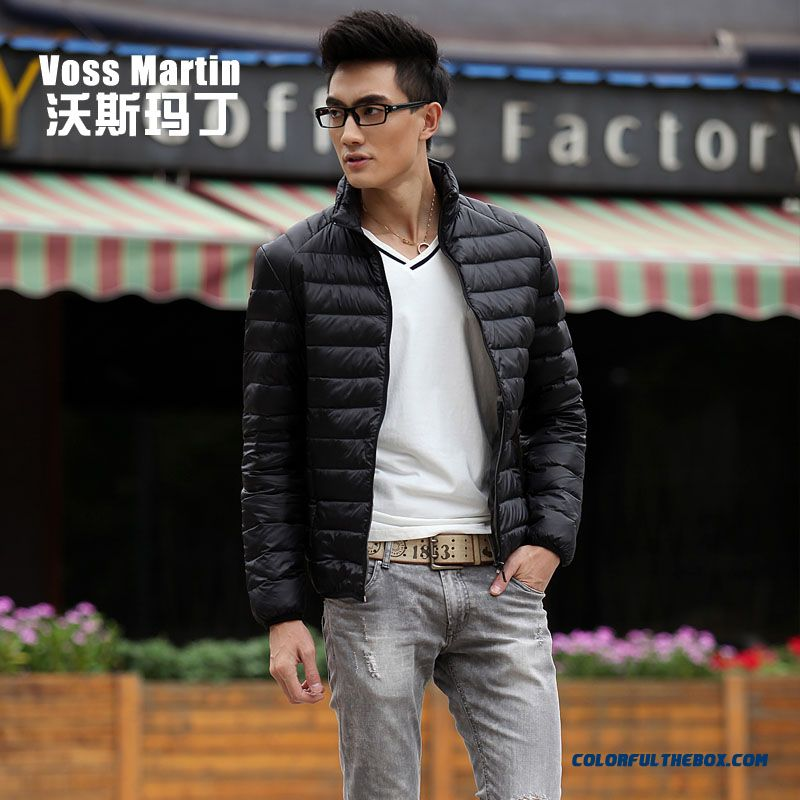 New Winter Style Men Coats Thin Short Stand Collar Large Size Mode - more images 2