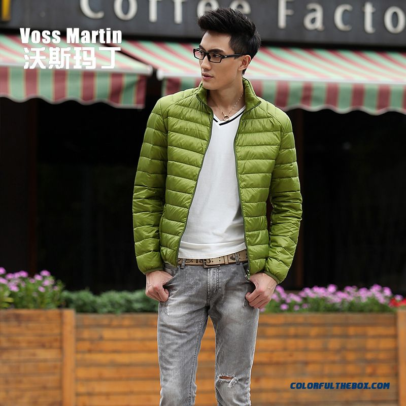 New Winter Style Men Coats Thin Short Stand Collar Large Size Mode - more images 3