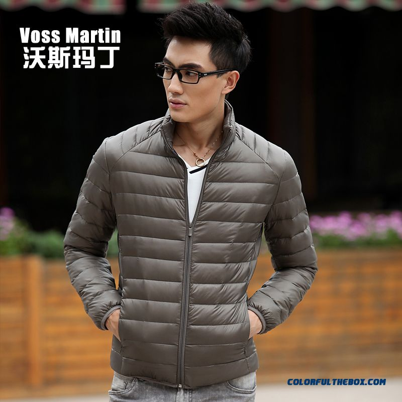 New Winter Style Men Coats Thin Short Stand Collar Large Size Mode - more images 4