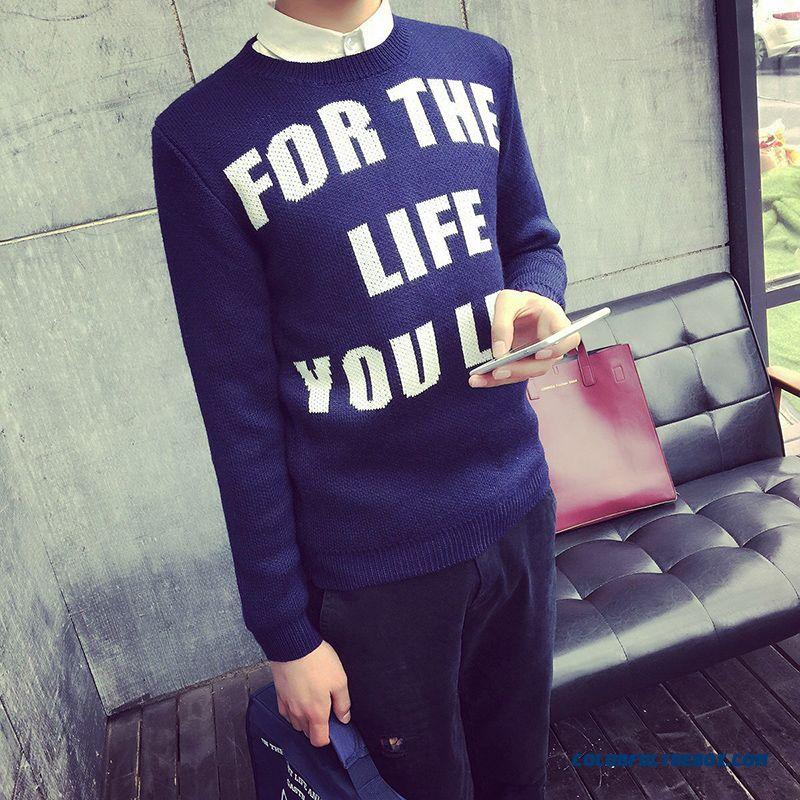 New Winter Sweaters Pullover Thick Round Neck Letters Bottoming Shirt Clothing
