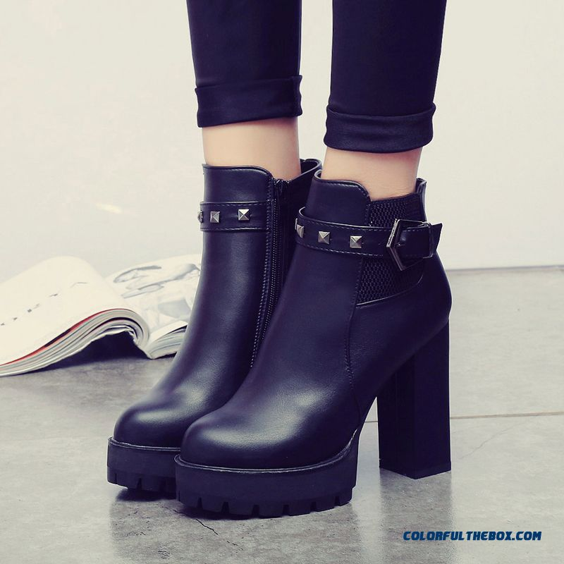 New Winter Thick Heel High-heeled Boots Side Zipper Round-toe Casual Women Shoes