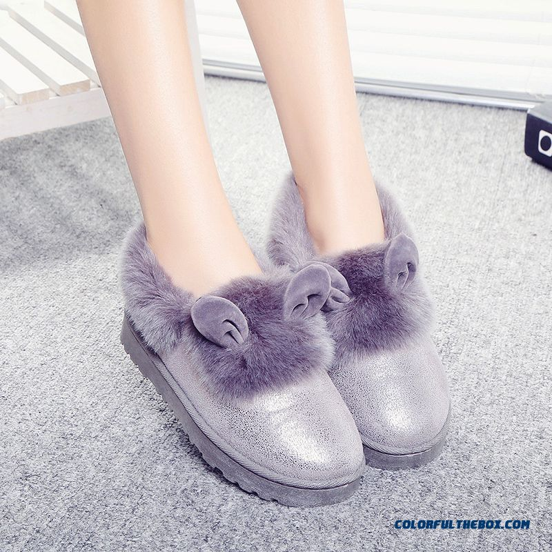 New Winter Thick Warm Women Shoes Heavy-bottomed Flat Boots With Rabbit Ears - more images 3