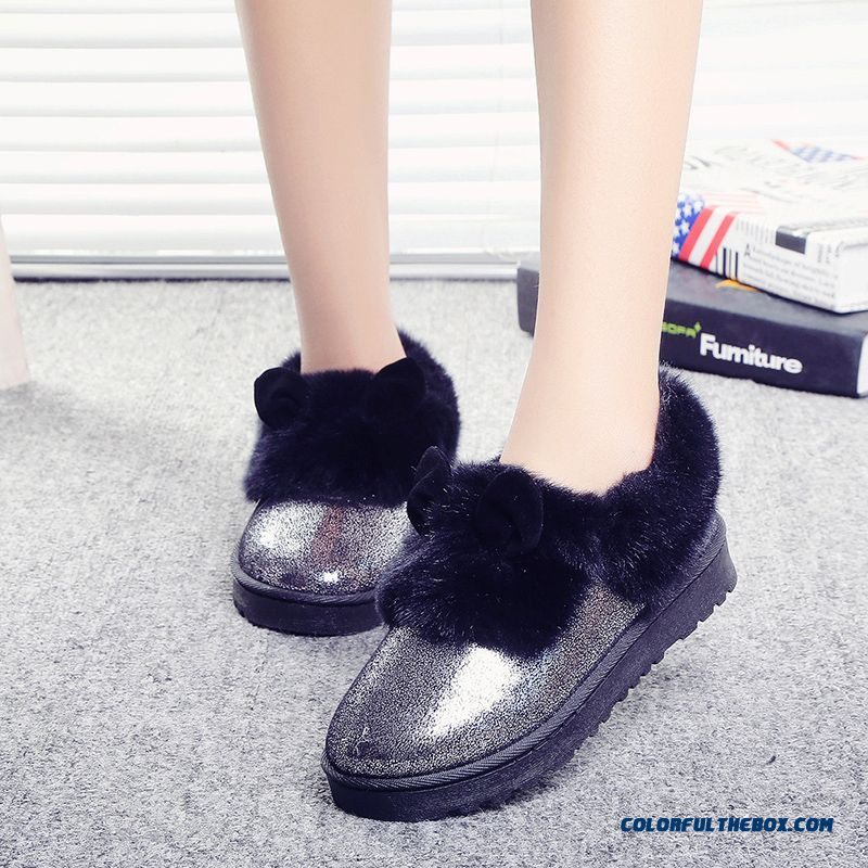 New Winter Thick Warm Women Shoes Heavy-bottomed Flat Boots With Rabbit Ears - more images 4