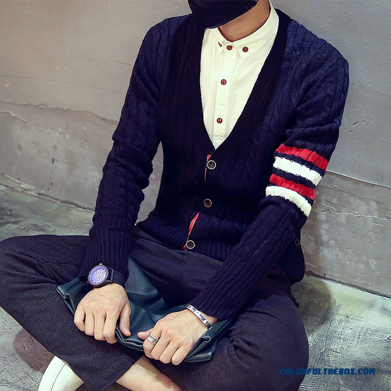 New Winter Tide Men Hit Color Knit Cardigan Slim Thick Sweaters Men