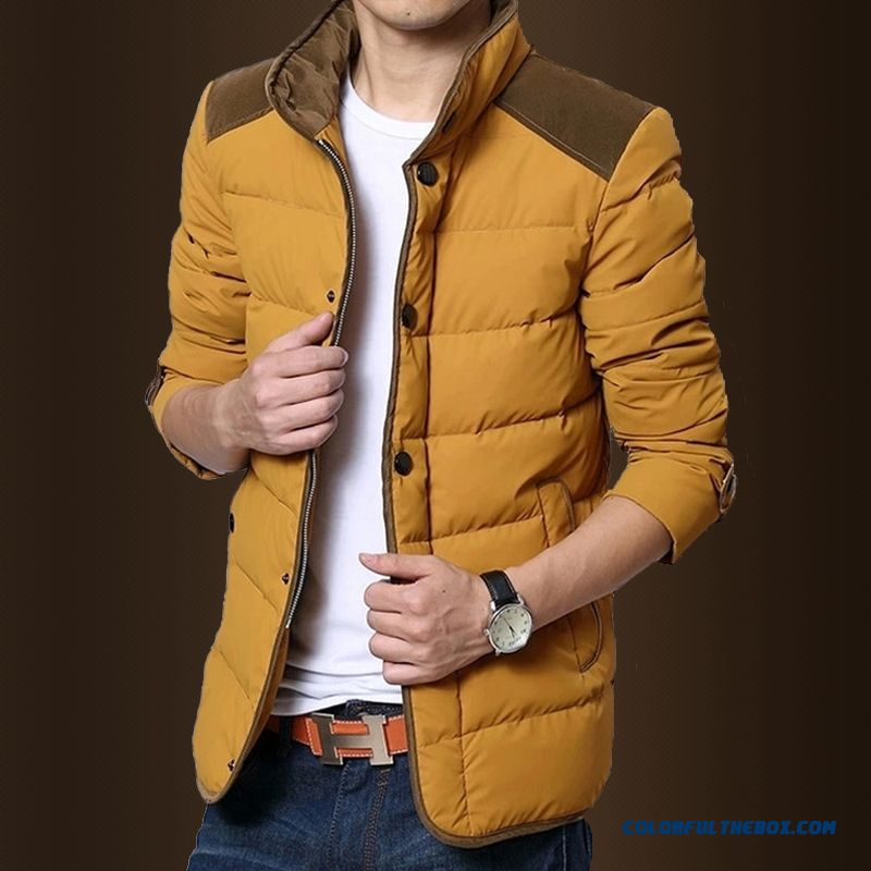 New Winter Top Sale Men Stand Collar Casual Yellow Thicken Jacket Tide
