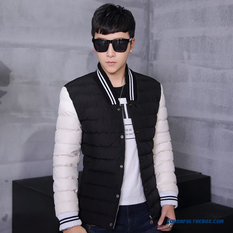 New Winter Top Sale Men Stand Collar Slim Short Black White Long-sleeved Jacket